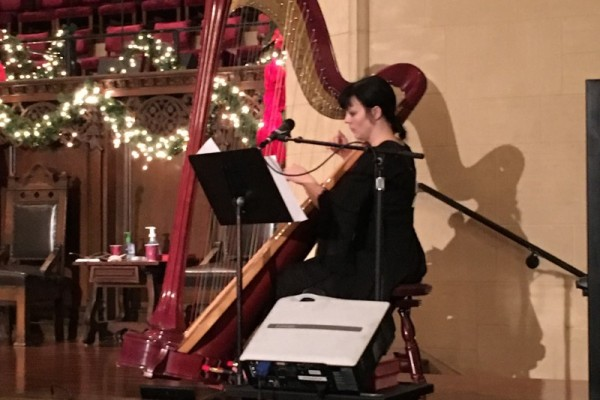 Christmas Eve 10:30pm service at the Hollywood Campus - Eve playing her harp