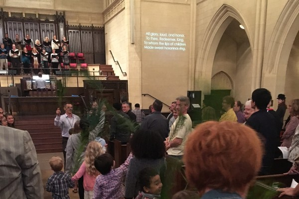 PALM SUNDAY: Our HUMC children entered with palms as we celebrated the entrance of Jesus.