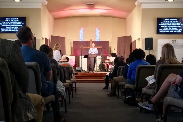 Pastor Mark preaching