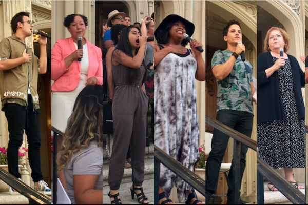 Speakers from the Homeless Youth Vigil on 7/17/17