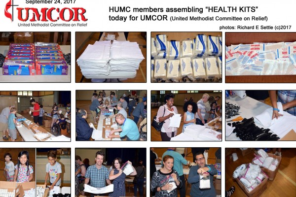 "09.24.17, Today after worhip, HUMC members assembled in the gym to make ""Health Kits"" for UMCOR"