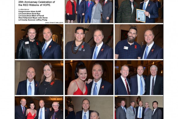 World AIDS Day Sunday -Celebrating the 25th Anniversary of our RED Ribbons of Hope with Congressmember Adam Schiff, LA Councilmember David Ryu, LA Councilmember Mitch O'Farrell, West  Hollywood Mayor John Duran, and LA County Assessor Jeffrey Prang.  Richard E Settle, photographer (c)2018